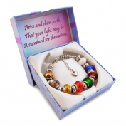 Timeline Treasures European Charm Bracelet Fits Pandora Faceted Glass Beads Rainbow