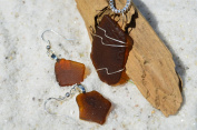 Genuine Chocolate Brown Sea Glass Sterling Silver Earrings and Necklace Set
