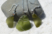 Genuine Moss Green Sea Glass Sterling Silver Earrings and Necklace Set