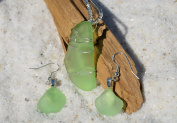 Genuine Light Green Sea Glass Sterling Silver Earrings and Necklace Set