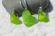 Genuine Lime Green Sea Glass Sterling Silver Earrings and Necklace Set