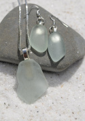 Genuine Pale Aqua Sea Glass Sterling Silver Earrings and Necklace Set