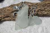 Genuine Frosted Light Aqua Sea Glass Sterling Silver Earrings and Necklace Set