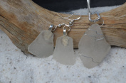 Genuine Sea Glass Sterling Silver Earrings and Necklace Set