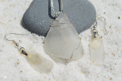 Genuine Frosted White Sea Glass Wire Wrapped Sterling Silver Necklace and Earrings Set