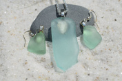Genuine Blue Green Sea Glass Sterling Silver Earrings and Necklace Set
