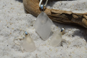 Genuine Frosted White Sea Glass Sterling Silver Necklace and Earrings Set