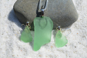 Genuine Sea Foam Sea Glass Sterling Silver Necklace and Earrings Set