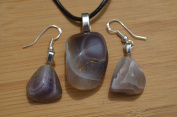 Grey Banded Agate Stone Earrings and Necklace on a Leather Cord
