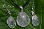 Crystal Quartz Stone Earrings and Necklace on a Leather Cord