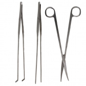 Silver Stainless Steel Fish Tank Aquarium Plant Trim Long Handle Scissors Tweezers With Straight Curved Tip Pack of 3