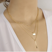 OnairMall 2015 Latest Design Style Gold Plated Three Layered Necklace