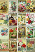 Victorian Vintage Seed Catalogue Covers Collage Sheet 102