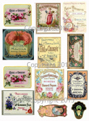 Victorian Vintage Perfume Labels Collage Sheet 106