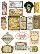 Victorian Vintage Perfume Labels Collage Sheet 103