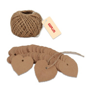 G2PLUS® 100PCS Kraft Paper Gift Tags Wedding Brown Kraft Hang Tag Bonbonniere Favour Gift Tags with Jute Twine 30 Metres Long for Crafts & Price Tags