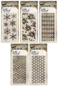 Tim Holtz - 2015 Fall & Winter - Stencils - Batground, Zigzag, Argyle, Poinsettia & Snowflakes - 5 Item Bundle