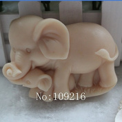 Creativemoldstore 1pcs Parent-Child Elephant (zx1615) Craft Art Silicone Soap Mould Craft Moulds DIY Handmade Soap Mould