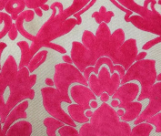 Jacquard Nara Burnout Flocked Damask Fuschia Upholstery Drapery Fabric Sold By the Yard 140cm Wide