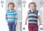 King Cole Splash DK Double Knitting Pattern Childrens Boys Hooded Sweater & Slipover