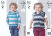 King Cole Splash DK Double Knitting Pattern Childrens Boys Hooded Sweater & Slipover