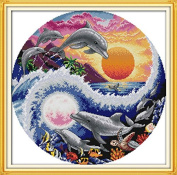 Needle Crafts Counted Cross Stitch sets for embrodidery kits Hand made 14CT unprinted Sun, moon and dolphins stitching wall home decro