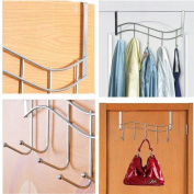 Over the Door Metal Rack Rail with 5 Hooks Ideal for Hang Over the Bathroom Door to Hang Bath Towels, Bathrobes, Next-day's Clothing, Holds Coats, Sweaters, Umbrella, & Scarves, Also Perfect for Office Hang Coats