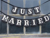 Vintage Just Married Wedding Bunting Banner Western Decoration Garland Photo Booth Prop Photobooth
