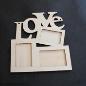 Soledi Wooden Photo Picture Frame Durable Lovely Hollow Love Family Photo Frame Rahmen White_Base Art DIY Home_Decor