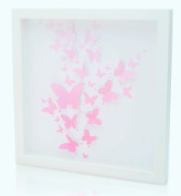 Green Frog, White Wooden Frame with 3D Cutout Pink Butterflies Artwork, Glass Encased Shadow Box 41cm x 41cm