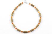 Healing Hazel Hazelamber Baby Necklace, Frosted White/Amber