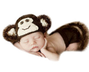 Xinmao Yuanming Newborn Handmade Brown Monkey Crochet Knitted Unisex Baby Cap Outfit Photo Props