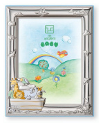 """STERLING SILVER Picture Frame THE ARK (8.9cm x 5)"""". Made in Italy"""