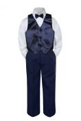 Leadertux 4pc Baby Toddler Boys Navy Blue Vest Bow Tie Navy Blue Pants Suits S-7 (M: