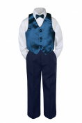 Leadertux 4pc Baby Toddler Boys Green Teal Vest Bow Tie Navy Blue Pants Suit S-7 (XL: