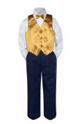 Leadertux 4pc Baby Toddler Boy Gold Vest Bow Tie Navy Blue Pants Suit Outfit S-7 (XL: