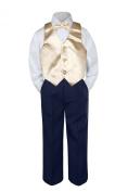 Leadertux 4pc Baby Toddler Boys Champagne Vest Bow Tie Navy Blue Pants Suits S-7