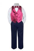 Leadertux 4pc Baby Toddler Boys Burgundy Vest Bow Tie Navy Blue Pants Suits S-7 (M: