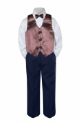 Leadertux 4pc Baby Toddler Boys Brown Vest Bow Tie Navy Blue Pants Suits Set S-7