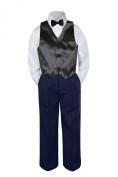 Leadertux 4pc Baby Toddler Boys Black Vest Bow Tie Navy Blue Pants Suits Set S-7