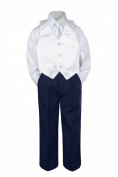 Leadertux 4pc Baby Toddler Boys White Vest Necktie Navy Blue Pants Suits Set S-7 (L: