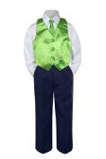 Leadertux 4pc Baby Toddler Boys Lime Green Vest Necktie Navy Blue Pants Suit S-7