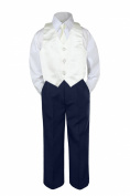 Leadertux 4pc Baby Toddler Boy Ivory Vest Necktie Set Navy Blue Pants Outfit S-7