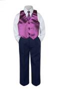 Leadertux 4pc Baby Toddler Boys Eggplant Vest Necktie Navy Blue Pants Suits S-7 (S: