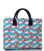 anchor splash print shopping tote