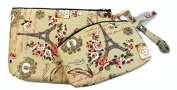 Set of 2 Pcs Cotton Makeup Cosmetic Vintage Handmade Pouch Coin Purse Bag