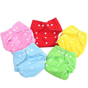 EUBUY 5 Pack Comfortable Adjustable Reuseable Cloth Nappy Cover