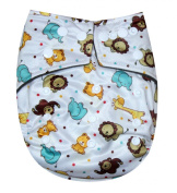 "See Nappies Bamboo Charcoal One Size Baby Cloth Nappy 2 Bamboo Inserts "" Animals """