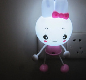 A.Shine Lovely Pink Rabbit Bunny Shape Wall Sensor LED Night Light Lamp with Plug for Baby Bedroom Decoration