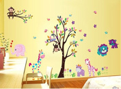 Owl Lion Monkeys Climbing on the Flower Tree Wall Stickers